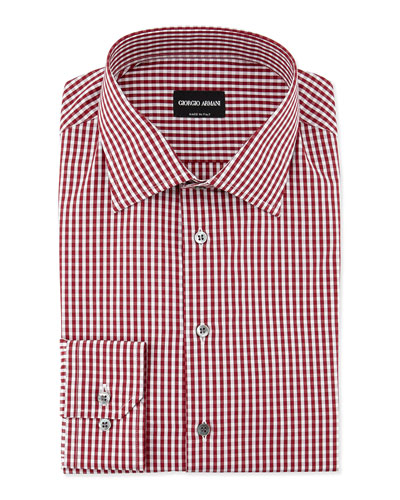 Gingham-Print Woven Dress Shirt, Burgundy