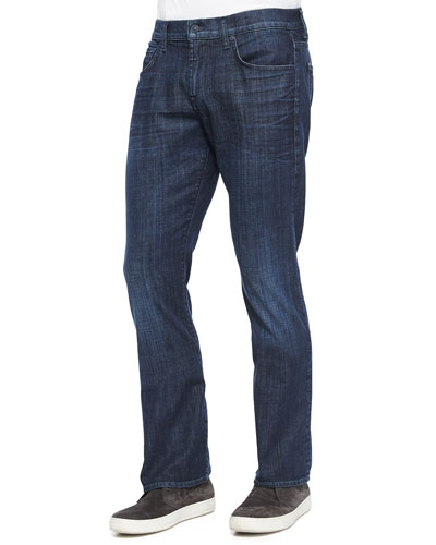 Luxe Performance: Brett Triumph Denim Jeans, Dark Indigo