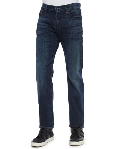 Standard-Fit Marine Denim Jeans, Dark Indigo