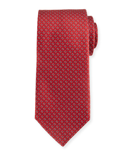 Bubble-Print Silk Tie, Red