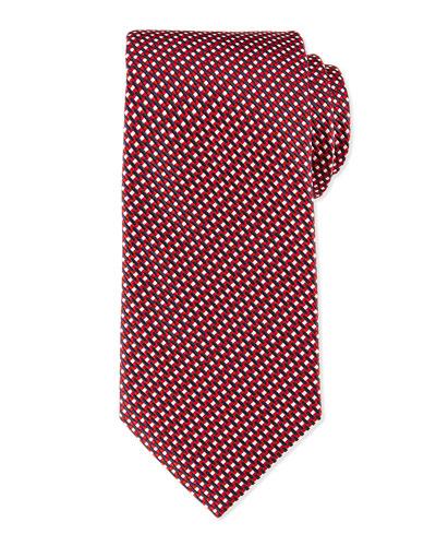 Diagonal Basket-Weave Tie, Red
