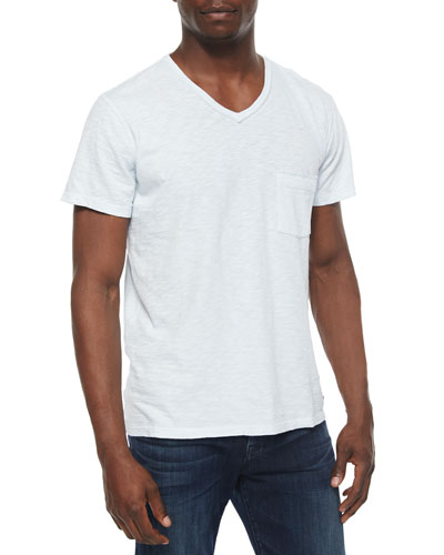 Raw-Edge V-Neck Tee, Light Blue