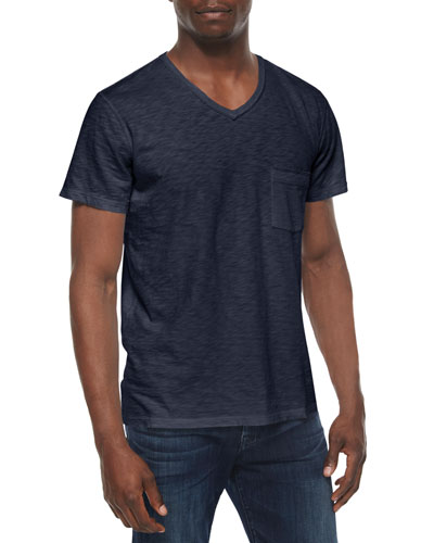 Raw-Edge Short-Sleeve Tee, Navy
