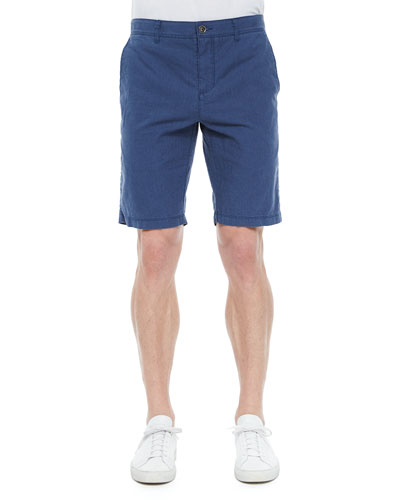 Tristen Line-Printed Woven Shorts, Blue