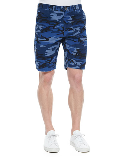 Tristen Camo-Print Woven Shorts, Blue