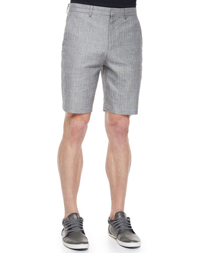 Flecked Flat-Front Shorts, Gray