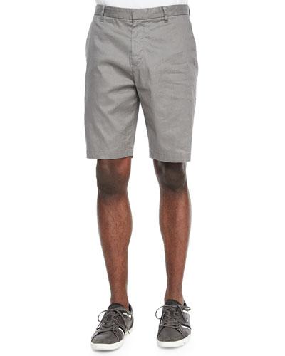 Flat-Front Linen-Blend Shorts, Gray