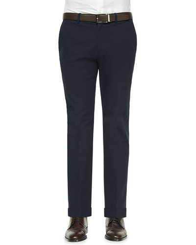 Jake Tonal Textured Flat-Front Pants, Navy