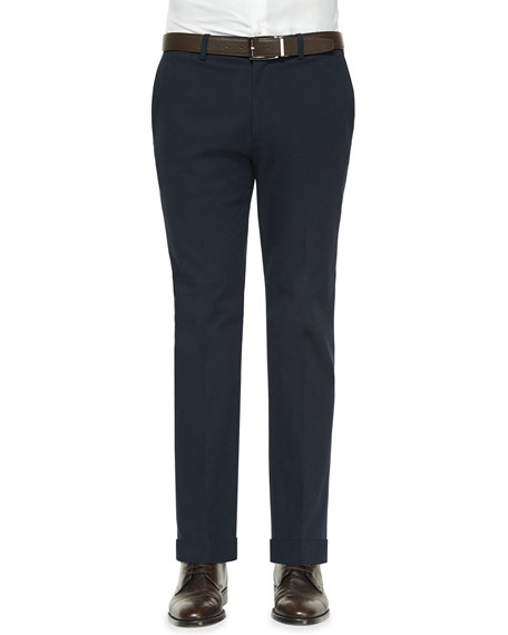 Theory Jake Tonal Textured Flat-Front Pants, Navy