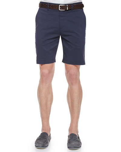 Small-Check Jacquard Shorts, Navy