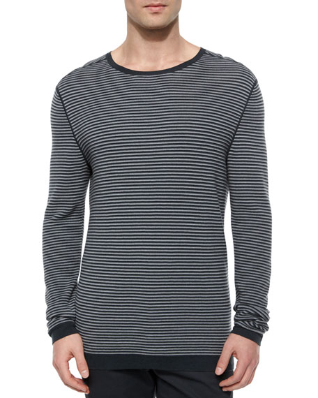 Theory Striped Long-Sleeve Crewneck Sweater, Gray/Black