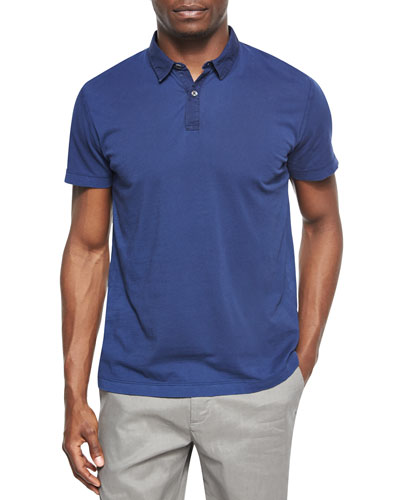 Solid Woven-Collar Jersey Polo, Navy