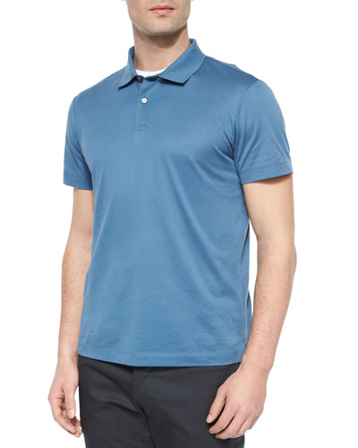 Sandhurst Short-Sleeve Pique Polo Shirt, Blue