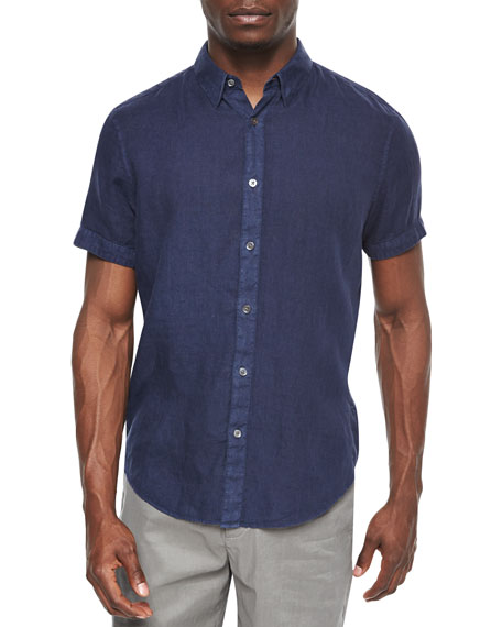 Theory Short-Sleeve Linen Shirt, Indust