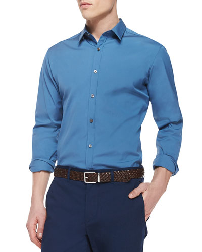 Zack PS Solid Long-Sleeve Shirt, Blue