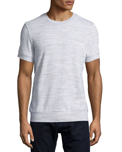 Melange Short-Sleeve Jersey Sweatshirt, Gray