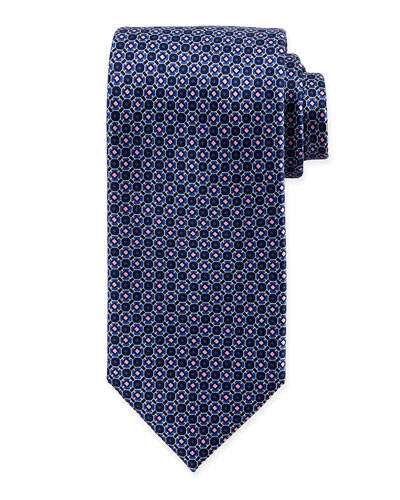 Diamond Octagon-Print Silk Tie, Blue