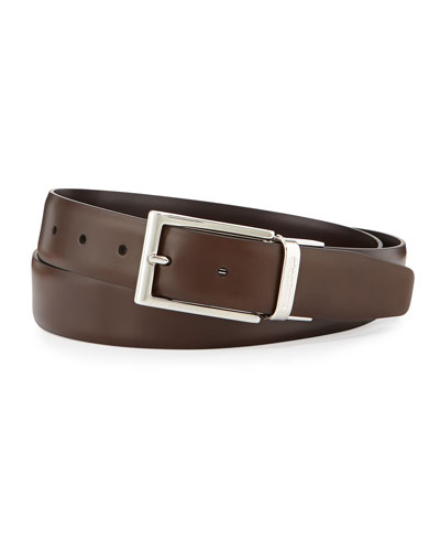 Roq Reversible Leather Belt, Brown