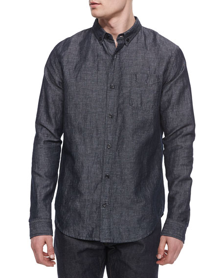 Vince Melrose Denim Button-Down Shirt, Blue