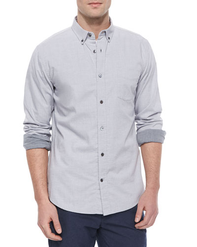 Melrose Long-Sleeve Button-Up Shirt, Light Gray