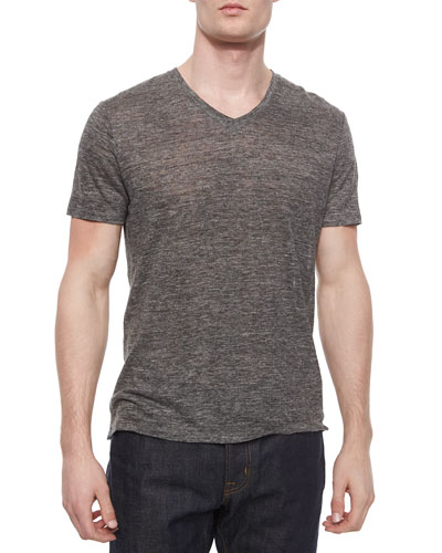 Short-Sleeve V-Neck Henley Tee, Heather Charcoal