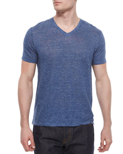 Short-Sleeve V-Neck Henley Tee, Navy