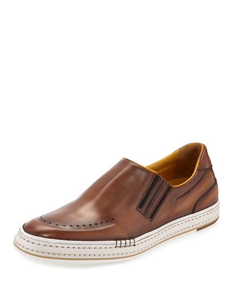 Berluti Calf Leather Slip-On Sneaker, Bourbon