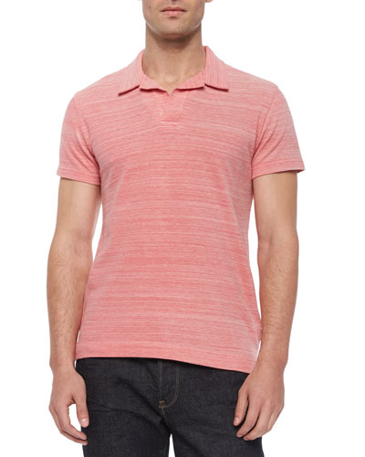 Felix Johnny-Collar Polo Shirt, Fuchsia