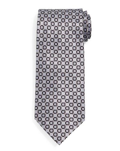 Circle Neat Silk Tie, Black/Gray