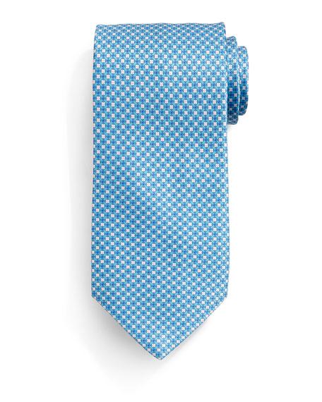Stefano Ricci Check Silk Tie, Teal