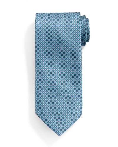 Small Neat Pattern Silk Tie, Light Green