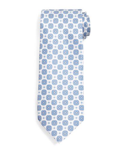 Medallion-Pattern Silk Tie, Blue/White