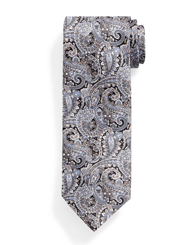 Fancy Paisley-Print Silk Tie, Black