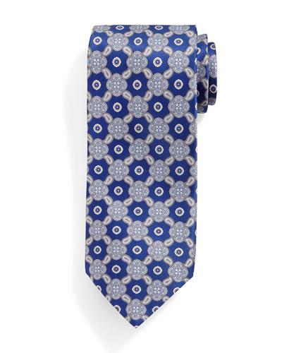 Medallion & Paisley-Print Silk Tie, Blue