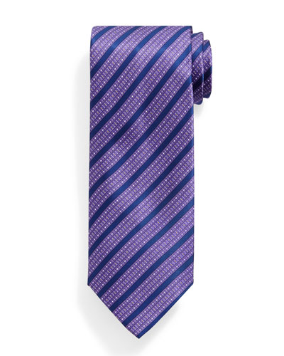 Bold Stripe Patterned Silk Tie, Purple
