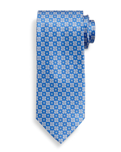 Neat Square Pattern Silk Tie, Light Blue/White