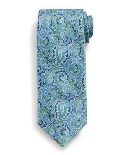 Fancy Paisley-Print Silk Tie, Navy