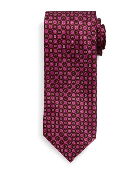 Stefano Ricci Neat Circle-Pattern Silk Tie, Pink/Red