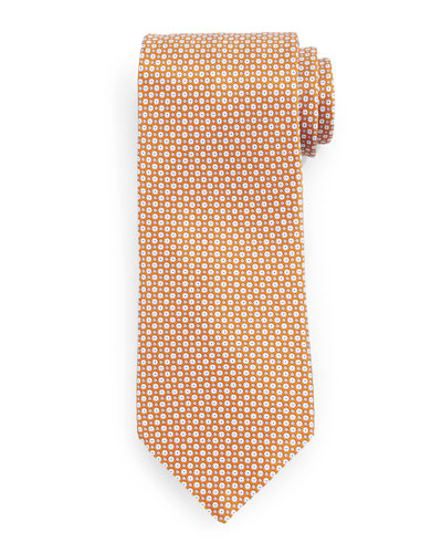 Check-Pattern Silk Tie, Gold
