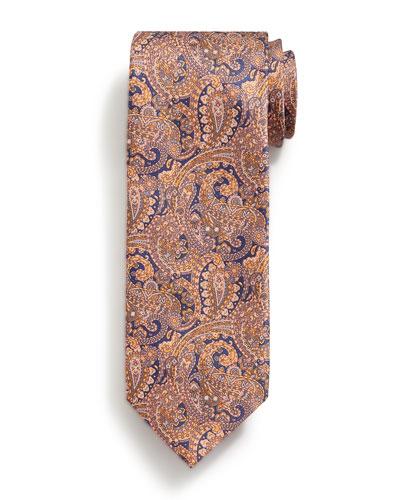 Fancy Paisley-Print Silk Tie, Orange