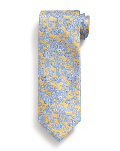 Paisley-Print Silk Tie, Yellow