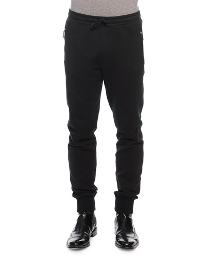Zip-Pocket Drawstring Sweatpants, Black