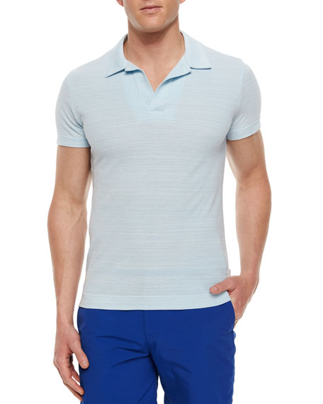 Orlebar Brown Felix Johnny-Collar Polo Shirt, Sky Blue