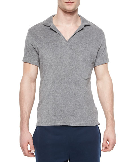 Orlebar Brown Terry Short-Sleeve Polo Shirt, Gray