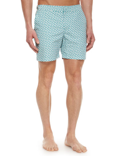 Bulldog Geometric-Print Swim Trunks, Aqua