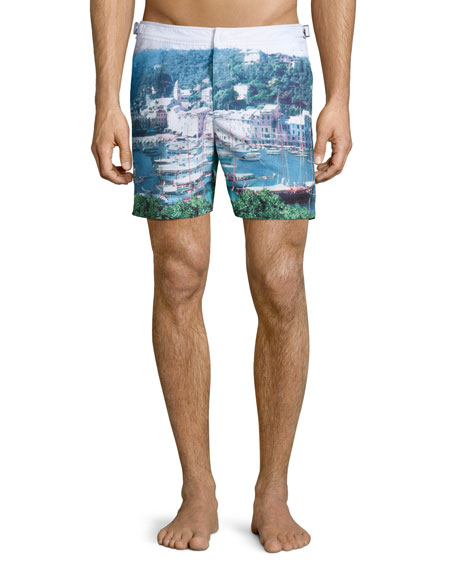Orlebar Brown Bulldog Graphic-Print Swim Trunks, Multi