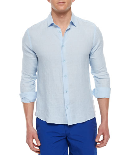 Malone Long-Sleeve Linen Shirt, Sky Blue