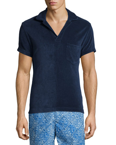 Terry Towel Short-Sleeve Polo Shirt, Navy