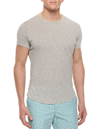 Tommy Crewneck Short-Sleeve Tee, Gray