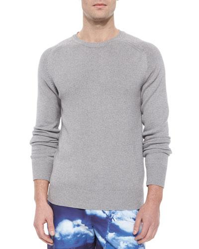 Granger Woven Crewneck Sweater, Gray